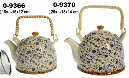 Tetera cerámica decorada flores