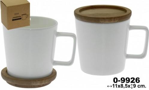 Taza porcelana blanca con tapa