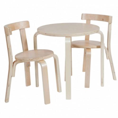 Conjunto 1 mesa+2 sillas blanca/natural infantil.