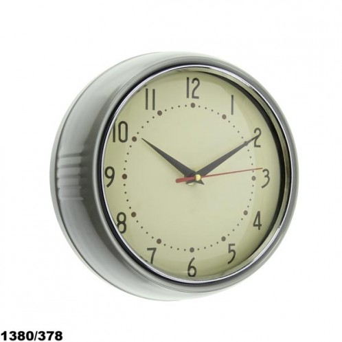 RELOJ PARED RETRO GRIS