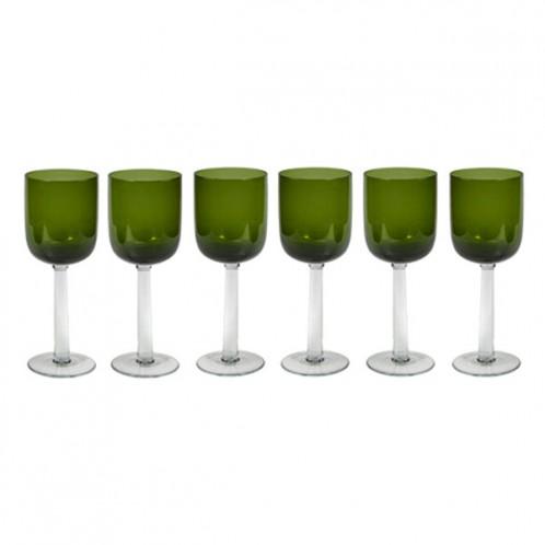 Set 6 copas cristal verde