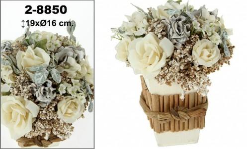Centro flores artificial crema