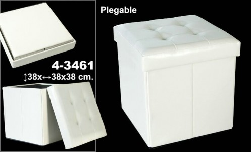 Puff plegable polipiel blanco