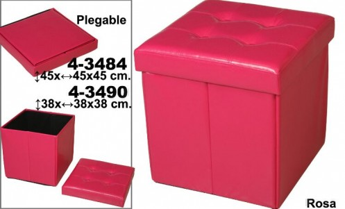 Puff plegable polipiel rosa