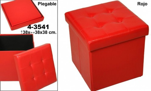 Puff plegable polipiel rojo