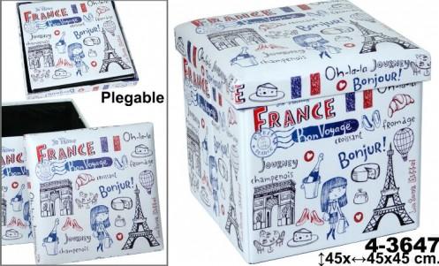 Puff plegable polipiel decorado Francia