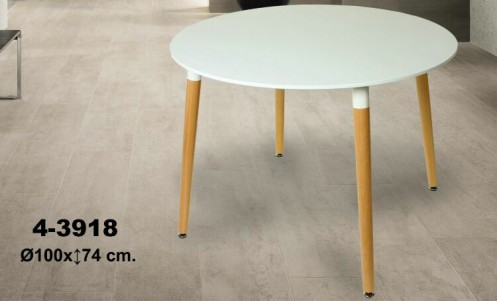 Mesa redonda blanca/madera