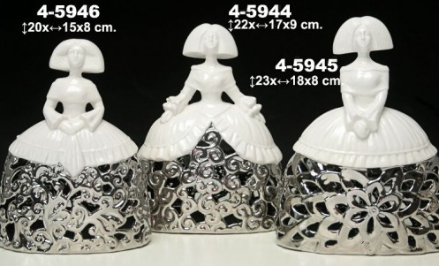 Menina cerámica blanca/plata