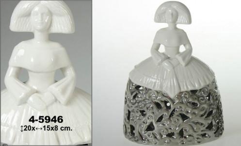 Menina ceramica blanca/plateada decorada
