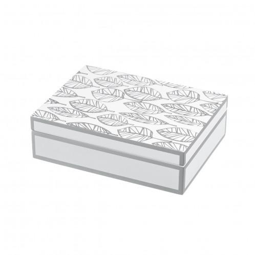 Caja blanco-plata