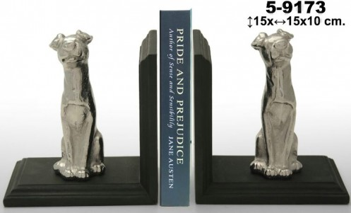 Set 2 sujetalibros perro aluminio