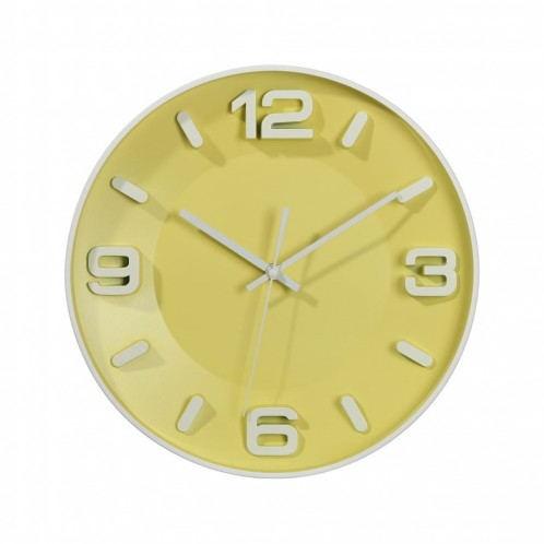 RELOJ PARED AMARILLO-BLANCO PLÁSTICO 33CM