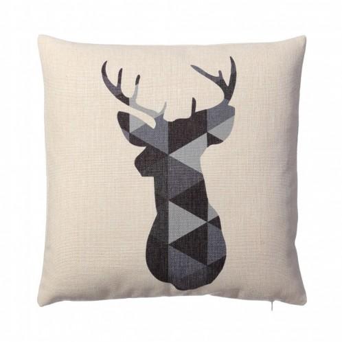 "Cojin ""signal"" ciervo blanco/gris"