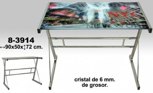 Mesa ordenador cromo/cristal