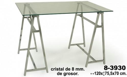 Mesa  cristal patas cromadas