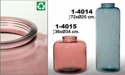 Jarrón vidrio rosa reciclado