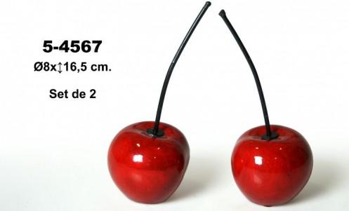 Set 2 figuras cerámicas cerezas rojas