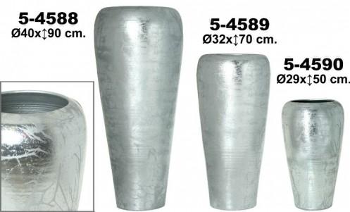 Jarrón decoración cerámica plata