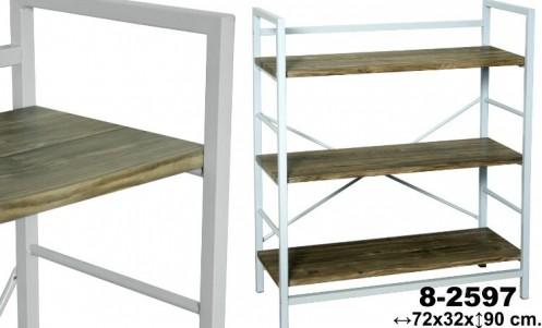 Estanteria 3 baldas blanca/madera
