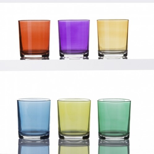 Set 6 vasos cristal colores