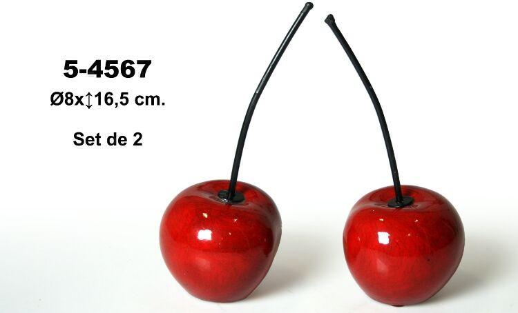 Comprar online Set 2 figuras cerámicas cerezas rojas