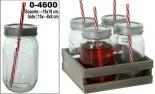 Set 4 botes/jarras cristal con tapa metal