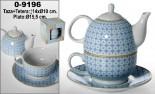 Taza-tetera cerámica blanca con plato