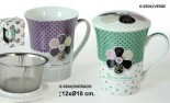 Taza infusion porcelana blanca/morado