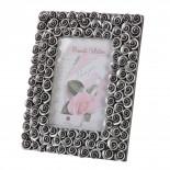 Portafotos plata flor