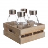 Set 4 botellas cristal  con tapa