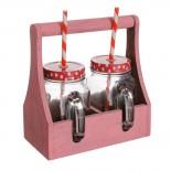 set 2 jarras cristal tapa con tapa metal