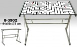 Mesa ordenador cristal/cromo