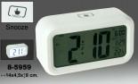 Reloj digital sobremesa con alarma blanco
