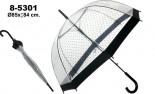 Paraguas transparente / decorado negro  plástico