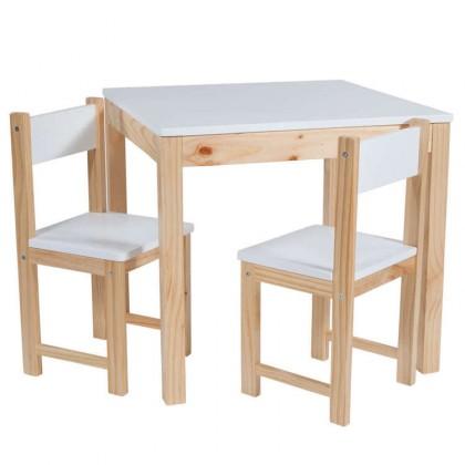 Conjunto 1 mesa+ 2 sillas blanca/natural infantil