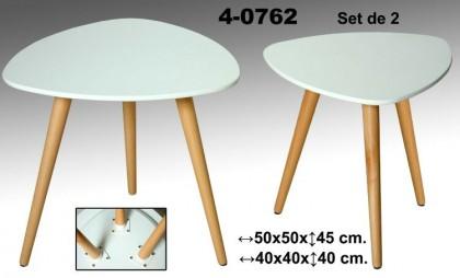 Set 2 mesas auxiliares blanco/roble