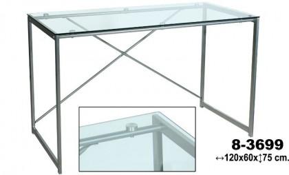 Mesa cristal transparente/cromo