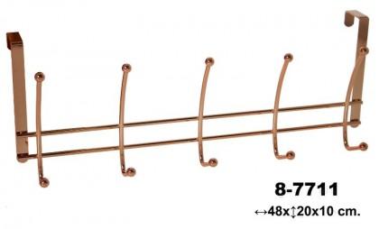 Percha-perchero puerta 5 ganchos cobre