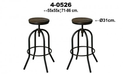 Taburete metal asiento madera