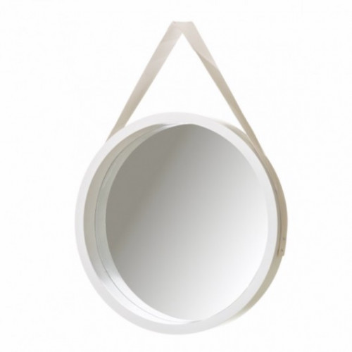 Espejo blanco redondo