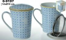 Taza infusion porcelana blanca/azul