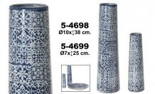Jarrón decoracion ceramica azul-blanco