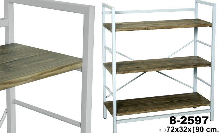 Comprar online estanteria 3 baldas blanca madera for Estanteria bano blanca